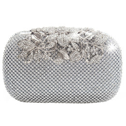 $enCountryForm.capitalKeyWord UK - Unique Clasp Silver Diamante Crystal Diamond Evening bag Clutch Purse Party Bridal Prom #173165