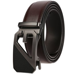 $enCountryForm.capitalKeyWord NZ - High Quality Genuine Leather Belts for Men Automatic Ratchet Buckle Cowhide Belt Male 110-130cm Long Black Coffee Men Belts