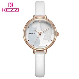 dresses for cats 2019 - Kezzi Ladies White Cat Dress Watch For Women Leather Waterproof Quartz Watches Female Girl Simple Dial Wristwatch 2019 N
