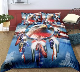 feather duvet set UK - Multi-Color Eagle Printed Bedding Set King Size Feather Brave 3D Duvet Cover Queen Home Textile Double Single Bed Set With Pillowcase 3pcs