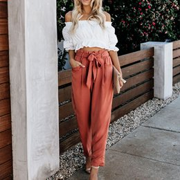 brown linen pants women NZ - High Waist Lace-up Fashion Casual Trousers New Women's Loose Summer Pants Women Wide Leg Women Pants Plus Size Pants SH190828