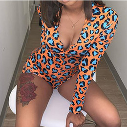 Wholesale gray rompers resale online – Women Nightwear Playsuit Workout Button Skinny Hot Print Jumpsuits V neck Short Onesies Women Plus Size Rompers