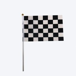 Birthday decoration flag online shopping - 14X21cm Black And White Checkered Flag Racing Flags Hand Waving Small Flags Birthday Party Decoration ZC1429