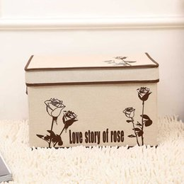 $enCountryForm.capitalKeyWord Australia - non-woven fabrics retro linen folding storage box clothe organizer kid toys storage bin Household finishing box size