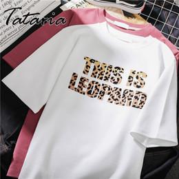 $enCountryForm.capitalKeyWord Australia - Tataria Women White T shirts Fashion Letter Leopard Print Short Sleeve Women O Neck Harajuku Casual T Shirt for Lady Girl Tops