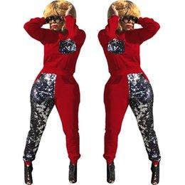 7333698f6fe84 Sequin Tracksuit Long Sleeve Pullover Tops + Splice Pants Leggings 2pcs Set  Winter Spangle Sportwear Fashion Patchwork Sportswears Plus Size