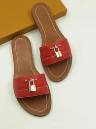 Mini lock box online shopping - 2019 lock it leather Designer Sandals red fashion Women sandal Horse brand with box lady fashion Dust bag Mini slippers flat slippers