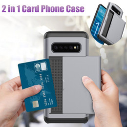 Slide Wallet Card Slot Case For Samsung Galaxy S9 Plus Card Back Cove For Samsung S10 Note 9 S8 S7 S6 Edge