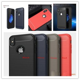 Discount fashion phone protection - Fashion Carbon Fibre Anti-Fall Protection Cover Mobile Phone Case Soft Rubber TPU Case for iphoneX Xr Xs Xs Max Samsung
