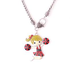 $enCountryForm.capitalKeyWord Australia - Q9 Cheerleading Girl Enamel Pendant with Colorful Crystal Woman Jewelry Zinc Alloy Charm wheat chain necklect Diy Jewelry