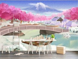 Chinese Hand Painting Landscaping Australia - 3d wallpaper custom photo mural Nordic hand-painted spring river flower month landscape wall decorative home decor wall art pictures