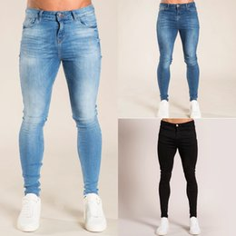 men skinny jeans size 32 NZ - Gingtto Blue Jeans Slim Fit Skinny Jeans For Men Street Wear HiP Hop Ankle Tight Cut Closely To Body Big Size Stretch zm05