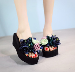 e85f5d850 womens Slippers Fashion Flower DIY personalized Flip Flops Beach Platform  Sandals Wedges Shoes size 35-42 HIGH heel 7cm