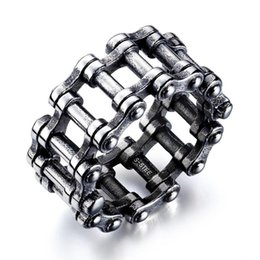 vintage motorcycle chain 2019 - Vintage Punk Titanium Steel motorcycle Bicycle Chain Ring for Men Rock Jewerly cheap vintage motorcycle chain