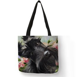 $enCountryForm.capitalKeyWord Australia - Scottish Terrier Painting Shoulder Bag Dogs Printed Shopping Travel Bags For Women Eco Linen Casual Totes