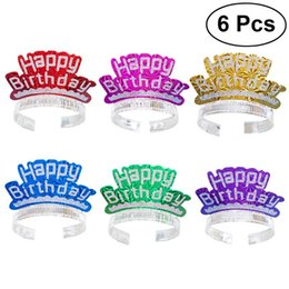 happy birthday caps 2019 - 6 Pcs Glitter Hot Stamping Birthday Hats Paper Cap Happy Birthday Letter DIY Decoration Children Party Gift Supplies dis