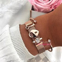 locked steel cuffs 2019 - Mavis Hare Rose Gold Key Of Your Heart's Lock Mesh Charm Bracelet Set With Stainless Steel Crystal Cuff Bangle For