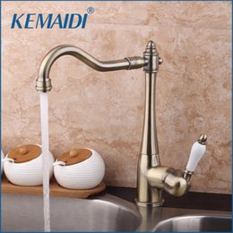 Kitchens Copper Sinks Australia - KEMAIDI 360 Swivel Stream Spout Antique Copper Chrome Brass Finish Deck Mounted Tap Kitchen Sink Faucet Hot & Cold Mixer Taps