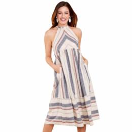 2be38ac823119 Joansam Summer Beach Dress Women Party Apricot Striped Bohemian Fashion  Midi Dress with Pocket Vestidos Casual Boho