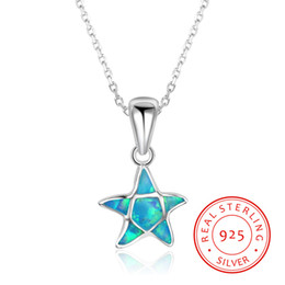 $enCountryForm.capitalKeyWord Canada - high quality 925 sterling silver Europe Charm Style Blue Opal Starfish Austrian Star Pendant Necklace jewelry gifts present to good friend