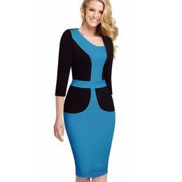 9bdae1e34a0 wholesale 3XL Plus Size Asymmetrical Neck Hot Patchwork Hit Color Design  Office Dress 3 4 Sleeve Sheath Pencil Vestidos