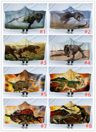 cartoon sleeping children Australia - Children Dinosaur Hooded Blanket Cloak Kids Cartoon Sleeping Blankets 3D Printing winter warm thick soft Sherpa Fleece blankets 130*150cmA07