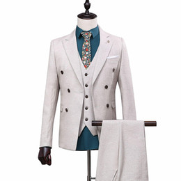 OSCN7 Double-breasted Peak Lapel Tailor Made Suits Men 3 Piece Business Wedding Custom Made Mens Suit Blazer Customize 168-13