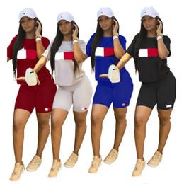 Xl Womens Leggings Australia - Summer Designer Two piece set Tracksuit Womens T shirt +Shorts leggings brand outfit Bodysuit TM letter print Sweatshirt Sportswear A52108
