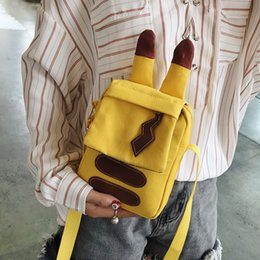 $enCountryForm.capitalKeyWord Australia - 2019 Girls outdoor leisure Messenger bag new cartoon Pikachu shoulder bag ins explosion models canvas hit color mobile phone bag