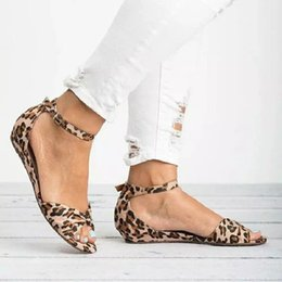 f912614a589c Leopard Flat Shoes Hot sale New design summer Buckle animal print Flower sexy  Wedge heel women sandals Fish mouth Roman Sandals for ladies