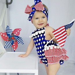 toddlers christmas onesies 2019 - INS Independence Day Designer Toddler Baby Girls Rompers Dresses Red Blue Ruffles Lace Sleeveless Newborn Bodysuits Summ