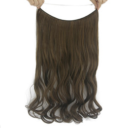 Blonde Halo Hair Australia - 10 Color Long Curly Brown Blonde Synthetic Hair Fish Line Halo Invisible Hair Headwear Accessories