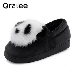 pandas slippers Australia - New Fashion Winter lovely Cartoon Panda Women Slippers Faux Fur Home Outdoor flat Casual Shoes Warm Slippers SH190925