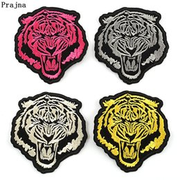 Discount tiger patches wholesale - Prajna Embroidered Tiger Patches For Clothing Wholesale Punk Style Iron On Patch Color Mini Animal Fabric Badges F
