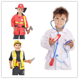 Discount police cosplay - Hot Sale Kids Halloween Fire Costume Children Day Costume Police Attorney Pilot Doctor Worker Pilot Performance Boy Girl