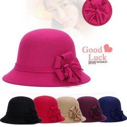 Fashion Vintage Women Fedora Hat Imitation Woolen Flower Autumn Winter Keep  Warm Bucket Cap Elegant Ladies Bowler Hats D19011103 d4b523214473