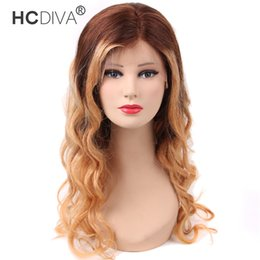 27 color wig online shopping - HCDIVA Ombre Human Hair Lace Front Wigs Two Tone Color Brown Top Honey Blonde End Brazilian Body Wave Wig A