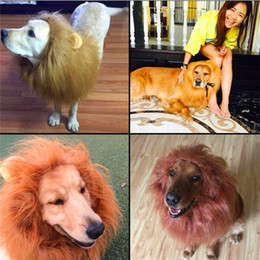 Discount dogs wigs Party Pet Toy Halloween Hair Ornaments Pet Costume Cat Halloween Clothes Fancy Dress Up Lion Mane Wig for Large Dogs