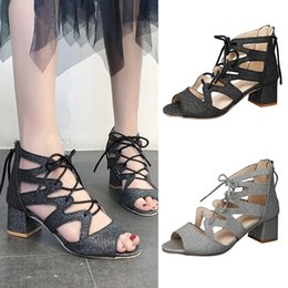123cb45d54af gladiator sandals sandals girl high quality shoe Fashion Women Ladies Bling  Square Heels Party Peep Toe Casual Shoes  89