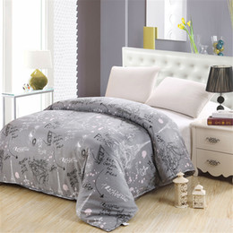 purple floral king size bedding 2019 - Luxury print gray white Floral Bedding Eiffel Tower pattern twin Queen King size Duvet cover 100% Cotton adult Soft comf