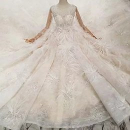 Train Works Australia - Special New Wedding Dresses With Feather Illusion Long Sleeves Ball Gown Hand Work Wedding Gowns With Long Train High Quality Saudi Arabia