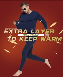 Wholesale thin thermal underwear resale online - Cotton Winter Round Neck Warm Long Johns Set for Men Ultra Soft Solid Color Thin Thermal Underwear