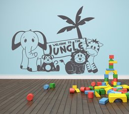 nursery stickers jungle UK - Kids Room Jungle Bedroom Wall Sticker Baby Nursery Decor Elephant Lion Monkey Wall Decal Vinyl Forest Animal Sticker