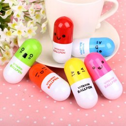 ball suppliers UK - Student Ballpoint pens Pill Shape Retractable Creative Lovely Ball Point Pen Children Gift Writing Suppliers Wholesale 0001STD
