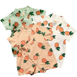 20fc129f3c81 Infant bebes Monk Jumpsuits Fruit Printed Short Sleeve Lace-up Leisure Wear  Rompers New Born Baby Clothes Summer For boy girl PPA384