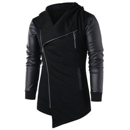 $enCountryForm.capitalKeyWord Australia - Hot Fashion Men Coats Leather Patchwork Cardigan Side Zipper Asymmetric Irregular Jacket Autumn Hooded Coat Outwear Black Green