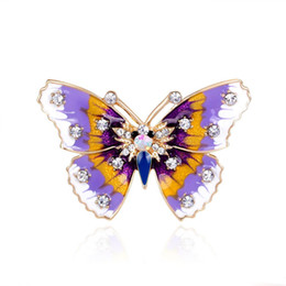 designer brooches UK - Fairy Purple Butterfly Pin Brooch Designer Brooches Badge Metal Enamel Pin Broche Women Luxury Jewelry Wedding Party Decoration