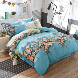 $enCountryForm.capitalKeyWord Australia - Hot Sale Pastoral Blue Flower Bedding Sets Adult Kids 4pcs Bedclothes Cotton Bed Linen Bed Set Twin Full Queen King Bedding Sets