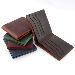 christmas chocolates UK - 100% Genuine Leather Wallets Bifold Purse Vintage Crazy Horse Leather Clutch Men Wallets Coin Pocket Men Wallets