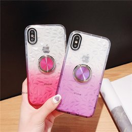 Wholesale Transparent Soft TPU Case For iPhone XMAX X XS XR Diamond Pattern Cover For iPhone s Plus With Finger Ring Coque